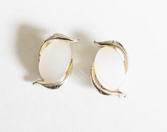 Vintage gold toned and large white earrings