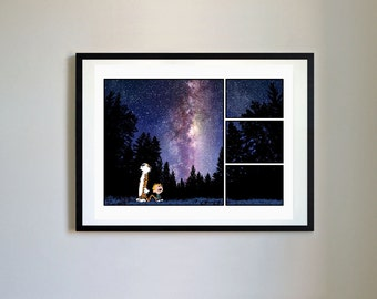 Calvin and Hobbes #123 - Night Sky - Nursery Art Print, Decor, Poster, Picture, Childrens Art, Kids Room, Space