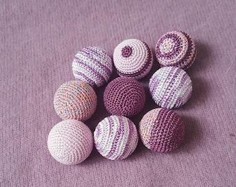 Crochet Balls 9 Pcs ( without holes ) Vase Filler Weddind Decor Home Decor Lilac Purple Lavander Crochet Balls