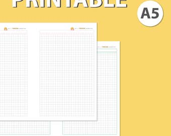 Grid Notes Paper Lined Graph - A5 Planner Insert Printable A4 Letter on 2 Pages KikkiK Wo2P Filofax Inserts