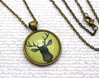Stag, Deer Necklace, Antlers Necklace or Keychain, Keyring
