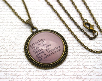 Alice In Wonderland, 'Lifetime of Adventures', Lewis Carroll Book Necklace or Keychain, Keyring