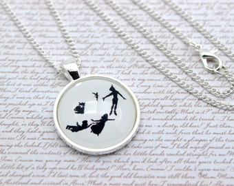 Peter Pan, Wendy, and Tinker Bell Silhouette, J. M. Barrie Necklace or Keychain, Keyring