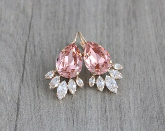 Rose gold earrings, Wedding earrings, Bridal jewelry, Blush crystal earrings, Bridal earrings, Swarovski earrings, Vintage style earrings