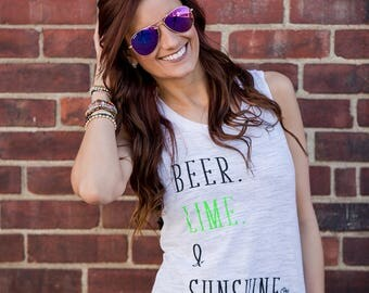 Beer Lime & Sunshine. Muscle Tank. Summer Tank. Flowy Scoop Neck. Women's Clothing. Summer Clothing.