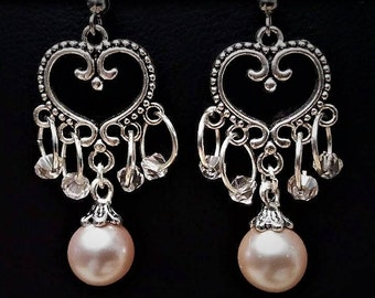 Tibetan Silver Pink Pearl Heart Dangle Earrings