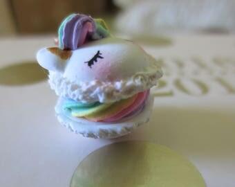 Unicorn Macaron Polymer Clay Charm - Rainbow Unicorn Macaroon Planner Charm - French Macaron Decoration - Magical Pink Accessory