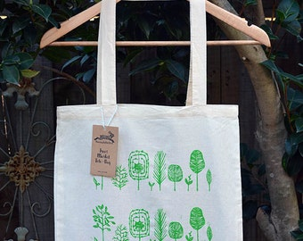 Trees Tote Bag, Cotton Market Bag, Hand Printed