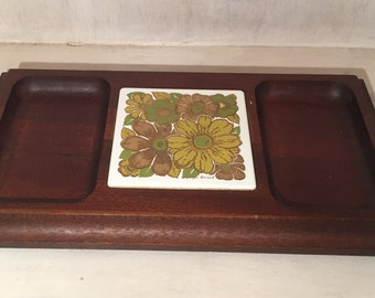 Vintage Georges Briard Cheese Board with Floral Design