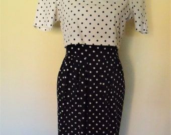 Cocktail dress polka dots I years 80 completo I style 40's I VLP Petites / / guest wedding dress / / Lady Di