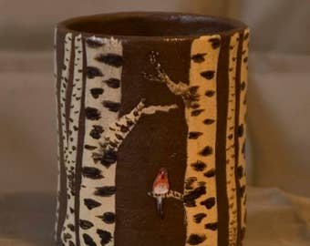 "Coffee mugs, ""Robin in the birch forest"" / handmade / piece"