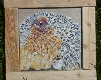 Chicken painting on linen canvas Board
