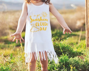 I've got Sunshine on a Cloudy Day Dress // Baby Dress, Toddler Dress, Sunshine Dress, Fringe Dress, Kids Dress, Girls Fringe Dress