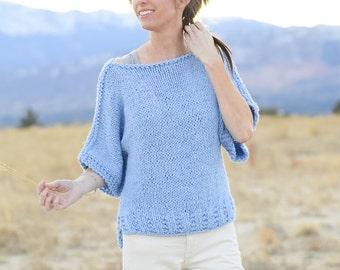 Beginner Knit Sweater Pattern, Easy Short Sleeved Sweater Pattern, Women's Top Knitting Pattern, Easy Summer Knitting Pattern