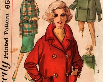Simplicity Pattern 4110, Double Breasted or Toggle Closure, Hooded Jacket Size 20, Bust 40 Complete, used 1960's