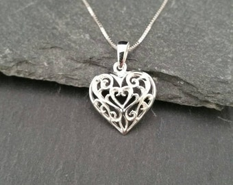 Genuine 925 Sterling Silver Ornate Vintage Style Heart Pendant Necklace Gift