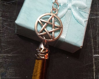 Pentacle, Tiger eye, wicca, wiccan jewelry, paganism, pagan jewelry