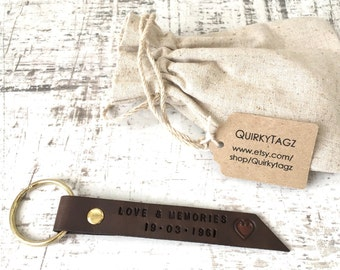 Personalised leather keyring, custom hand stamped keychain, engraved key fob, name bag tag, 3rd wedding anniversary couples gift, present