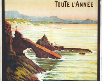 Vintage Biarritz France All Year Tourism Poster  A3 Print