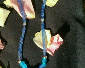 Sea Glass Necklace with Abalone Shell Pendant