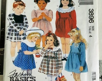 1988 McCall's 3896 Girls Dress Size 4 UNCUT FF Sewing Pattern ReTrO PreSchool!