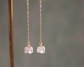 Gold Filled Long Dangle Earrings, Mini-gift charms Earrings,Mini Cube Dangle Earrings,Long Dangle Earrings,Tiny Dangle Earrings,Delicate Ear