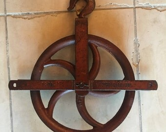 Antique Cast Iron Pulley by Western Block Company