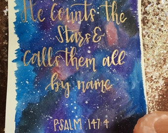He Counts The Stars & Calls Them All By Name; Galaxy Canvas