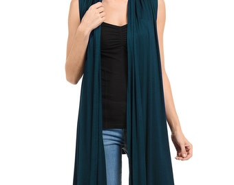 Sleeveless Asymmetric Open Front Vest Teal