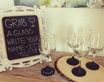 Wedding favors, wine glass wedding favors, personalized wine glasses, wedding chalkboard glasses, bridal shower favors, bachelorette party
