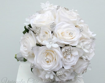 Wedding bouquet - Broach bouquet, White rose bouquet, Bling bouquet, Silk wedding bouquet
