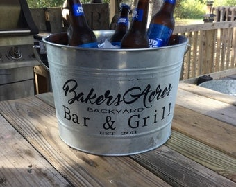 Personalized Large galvanized steel beverage bucket