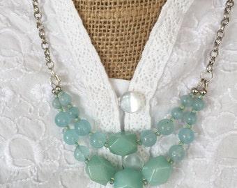 Gemstone Necklace Aquamarine Double Stranded March Birthstone Silver Chain