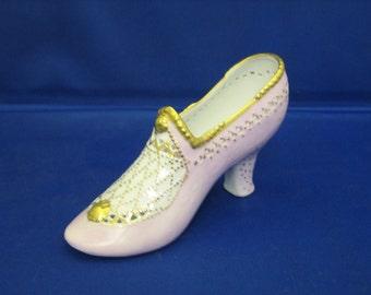 Porcelain Princess shoe, hand painted, Princess Aurora, Sleeping Beauty shoe.