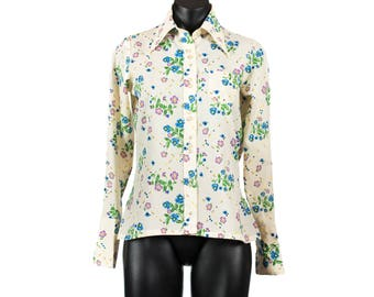 Vintage 1970's White and Floral Patterned Shirt with Pointed Collar