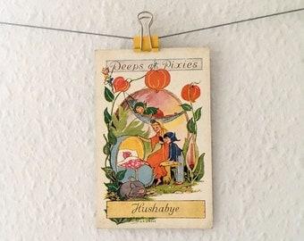 Vintage Peeps At Pixies postcard - elf family, new baby, toadstool, woodland folk, art, illustration, L R Steele, midcentury