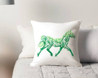 """16"""" x 16"""" Double-Sided Berry Green Horse Throw Pillow Cover"""