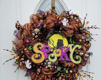 Halloween Deco Mesh Wreath, Spooky Owl Mesh Wreath, Front Door Halloween Wreath, Halloween Door Decor, Halloween Spooky Decor,Door Decor