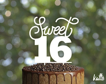 Sweet sixteen Birthday Cake Topper- Customizable sweet sixteen birthday Cake Topper- Sweet 16 Cake Topper- Birthday Sweet 16 Cake Topper