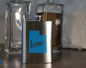 Utah State Flask - Color and Custom options- Stainless Steel - perfect for gifts- friends, family, groomsmen, bridesmaids, etc.