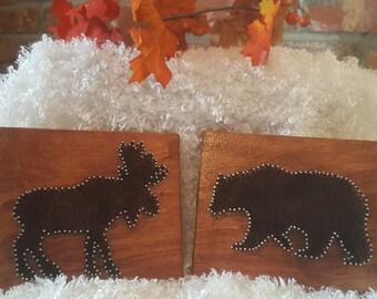 Moose and Bear Set Wall Hanging