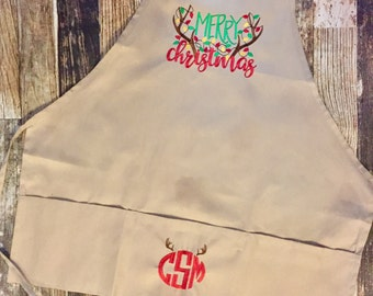 Merry Christmas Apron - Antlers and Lights - Personalized Monogram - Country Baking Apron