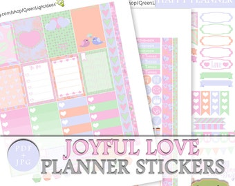 Valentines Happy Planner Weekly Kit, Happy Planner Valentine Printable Sticker, February Weekly Kit, Cute Love Planner Digital Sticker Kit