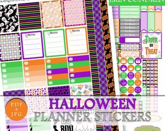 Halloween Printable Planner Stickers, Printable Halloween Sticker Vertical Erin Condren, ECLP Halloween Weekly Kit October Printable Sticker