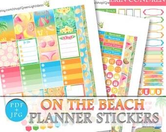 Beach Planner Stickers Printable, Summer Printable Sticker Erin Condren, ECLP Summer Digital Stickers, Beach Weekly Planner Sticker Kit