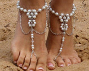Pair of Beach Pearl & Silver Anklet Barefoot Sandals