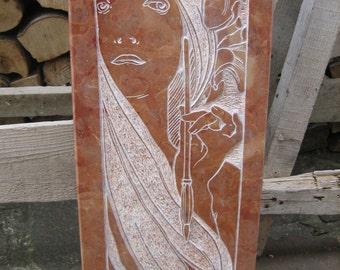 Bas relief engraving transposition Alphonse Mucha on 100% handmade Asiago red marble