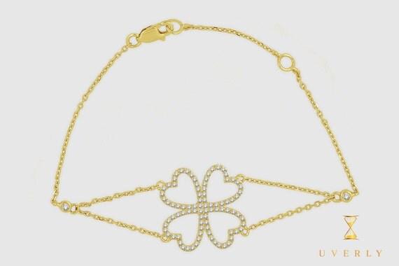 14k Solid Yellow White Rose Gold Diamond Flower Women's Bracelet