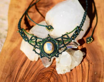 macrame necklace, Mexican Opal PROMOTION from 85 to 65 euros