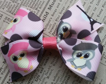 French Owl Hair Bow, girls hair bows, party favors, stocking stuffers
